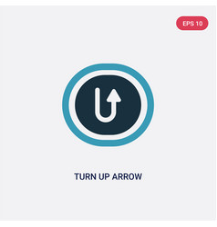 Two color turn up arrow icon from user interface vector