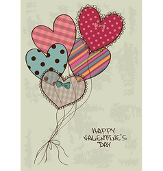 Valentines greeting card with heart air balloons vector image