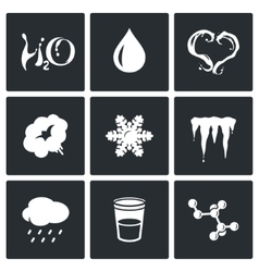 Various physical state of water icons set vector image