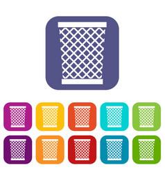 Wastepaper basket icons set flat vector