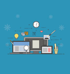 web and mobile design and developing on winter vector image