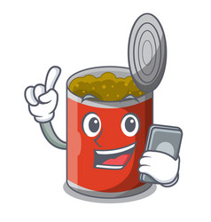 With phone character canned food isolated on vector