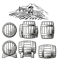 Wooden barrel set and rural landscape with villa vector