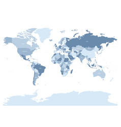 World map in four shades of silver blue on white vector