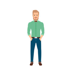 young hipster man in casual clothes vector image