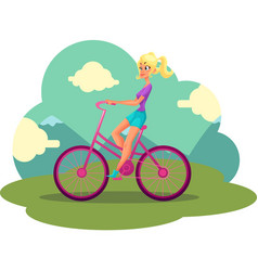Young pretty blond woman girl riding pink bicycle vector