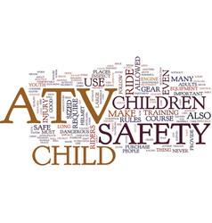 youth atv safety text background word cloud vector image