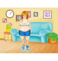 A fat girl weighing her weight inside the house vector image vector image