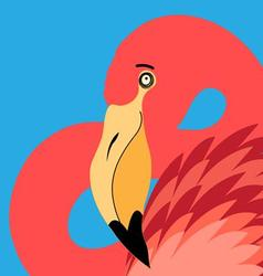 beautiful portrait of a flamingo vector image vector image