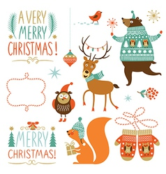 Collection of Christmas graphic elements vector image vector image