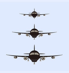 airplanes silhouette front vector image