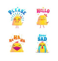 funny chicken doodle set vector image vector image