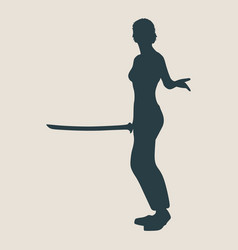 karate martial art silhouette of woman with sword vector image