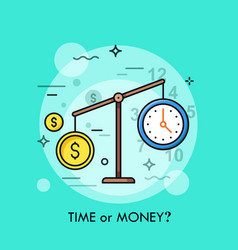 watch and dollar coin on scales time or money vector image