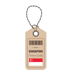 hang tag made in singapore with flag icon isolated vector image vector image
