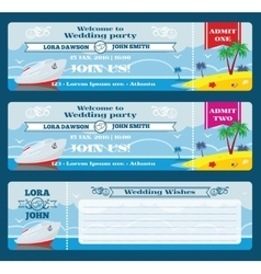Retro boarding pass ticket Wedding invitation vector image