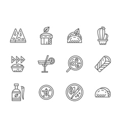 Black line icons for mexican menu vector