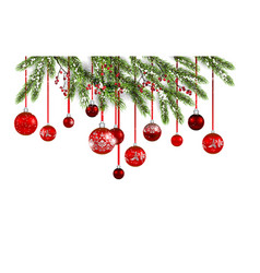 christmas tree and red balls banner vector image vector image