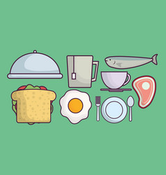 food related icons vector image