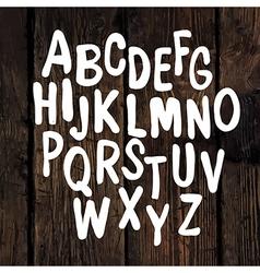 hand drawn alphabet wooden texture vector image vector image