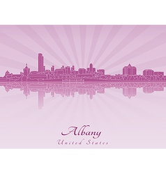 Albany skyline in radiant orchid vector