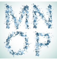 Alphabet water drop mnop vector image