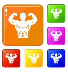 Athletic man torso icons set color vector