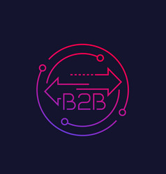 B2b business to business linear icon vector