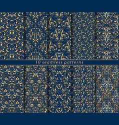 baroque seamless patterns set vector image