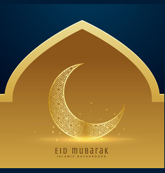 Beautiful golden moon for eid mubarak festival vector