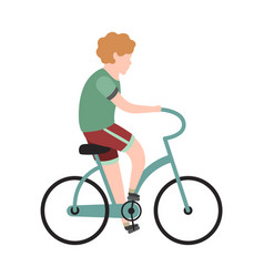 Boy cyclist school child or teenager is vector