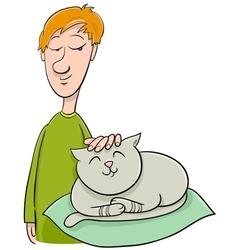 boy strokes cat cartoon vector image