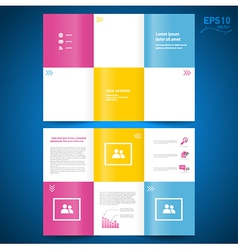 Brochure folder leaflet colored squares white back vector