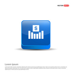 business growth diagram icon - 3d blue button vector image