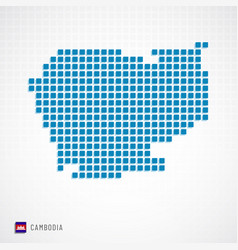cambodia map and flag icon vector image
