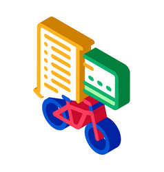 Card payment bicycle services isometric icon vector