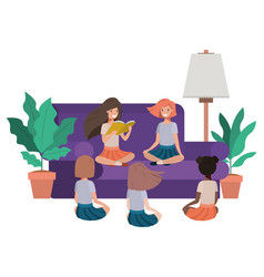 children reading in living room avatar character vector image