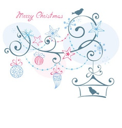 Christmas background - birds on branch christm vector