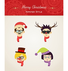 Christmas hipster people vector