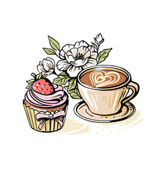 coffee with peonies and cupcake vector image