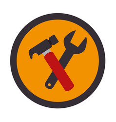Color circular emblem with hammer and wrench vector