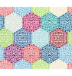 Coloured crochet hexagons vector