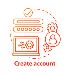 Create account red concept icon social network vector