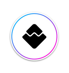 cryptocurrency coin waves icon isolated on white vector image