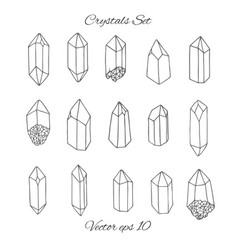 crystals contours set on white background vector image
