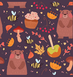 cute bears and food pattern vector image