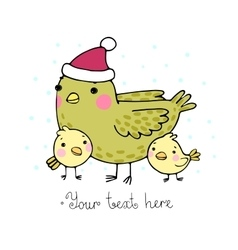 Cute cartoon Bird with chicks in the hat vector