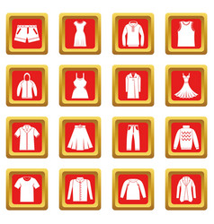 Different clothes icons set red vector