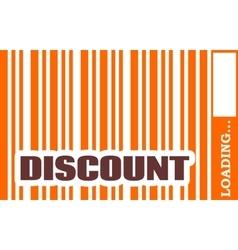 Discount word build in bar code vector