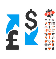 dollar pound exchange icon with valentine bonus vector image